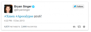 Bryan Singer's tweet from Dec. 5, 2013 announcing yet another X-Men film